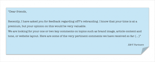 """Exhibit 2 – Excerpt of the """"Gentle reminder"""" email sent, following the first email, asking for feedback on X&Y's rebranding."""